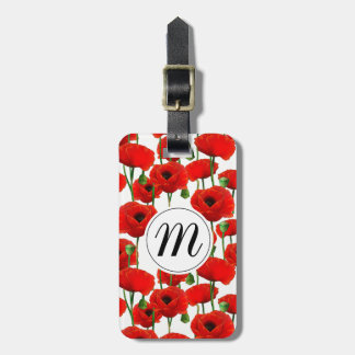 Rote Mohnblumen Blumenmuster u. Monogramm Gepäckanhänger