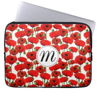 Rote Mohnblumen Blumenmuster u. Monogramm Laptopschutzhülle