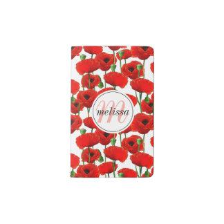 Rote Mohnblumen Blumenmuster u. Monogramm Moleskine Taschennotizbuch