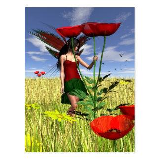 Rote Mohnblumen-Fee auf einem Sommer-Gebiet Postkarten