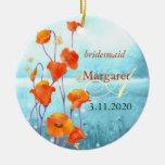 Rote Mohnblumen-Hochzeits-Brautjungfern-Geschenk-V Ornament