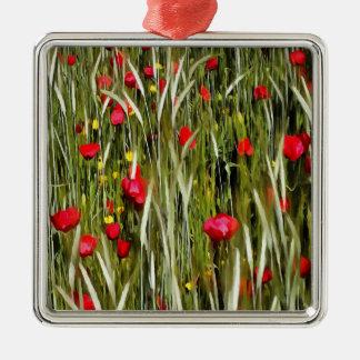 Rote Mohnblumen in einem Getreidefeld Silbernes Ornament