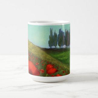 Rote Mohnblumen in Toskana Italien Kaffeetasse