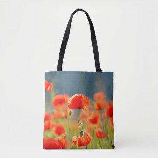 Rote Mohnblumen-Mohnblumen-Blumen-blauer Himmel Tasche