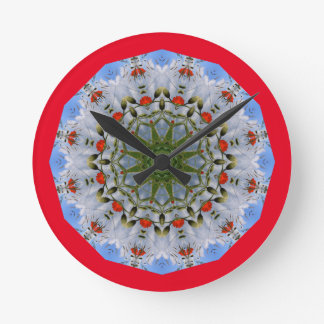 Rote Mohnblumen-Natur, Blume-Mandala 004 Runde Wanduhr