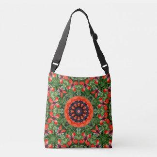 Rote Mohnblumen-Natur, Blume-Mandala 006 Tragetaschen Mit Langen Trägern