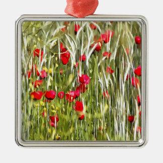 Rote Mohnblumen Quadratisches Silberfarbenes Ornament