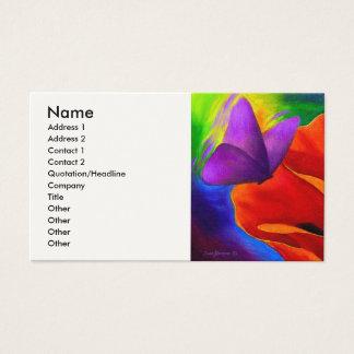 Rote Mohnblumen-Schmetterlings-Malerei-Kunst - Visitenkarte