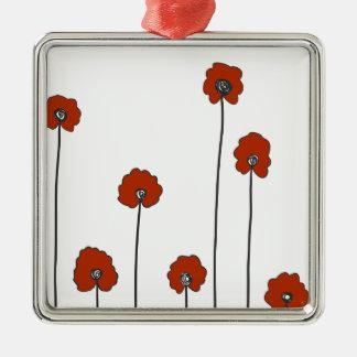 rote Mohnblumen Silbernes Ornament