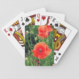 Rote Mohnblumen-Spielkarten Spielkarten