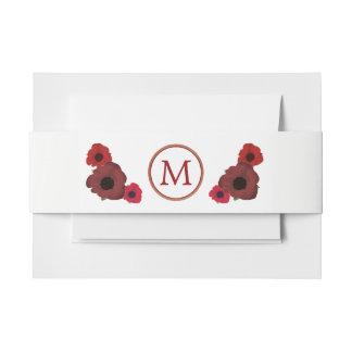 Rote Mohnblumen und Leinwand-Hochzeit Einladungsbanderole