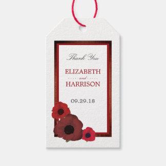 Rote Mohnblumen und Leinwand-Hochzeit Geschenkanhänger