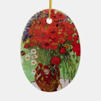 Rote Mohnblumen Van Gogh und Gänseblümchen, feine Keramik Ornament