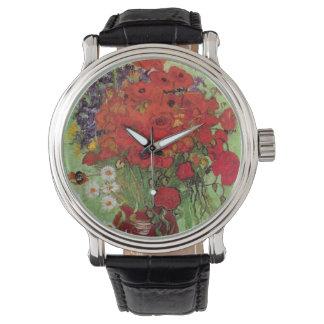 Rote Mohnblumen Van Gogh und Gänseblümchen, feine Uhr
