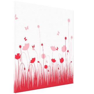Rote Mohnblumen wickelten Leinwand ein