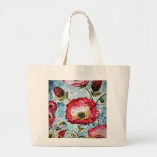 Rote Mohnblumenwatercolor-Kunst-große Tasche
