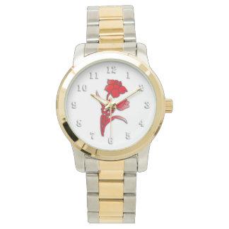 Rote Narzissen-Blume Armbanduhr