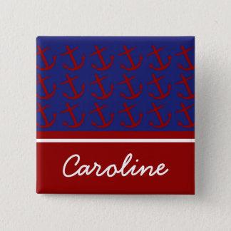 Rote nautischanker auf blauem personalisiertem quadratischer button 5,1 cm
