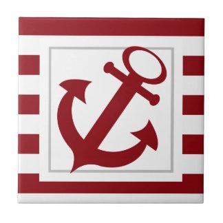 Rote nautischstreifen mit Anker Fliese
