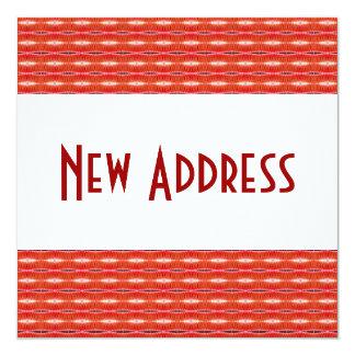 Rote neue Adresse Quadratische 13,3 Cm Einladungskarte