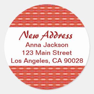 Rote neue Adresse Runder Aufkleber