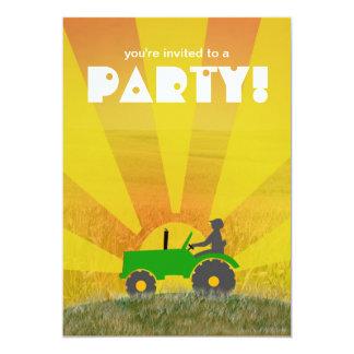 Rote oder grüne Traktor-Party Einladung: Wählen