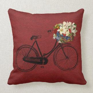 rote oder Innenfahrradfahrrad-Blumen im Freien Kissen
