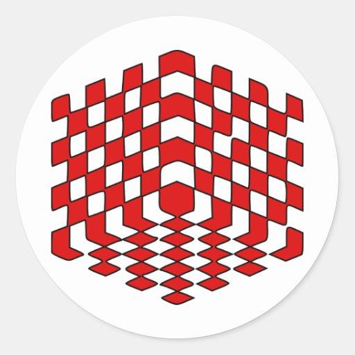 rote optische Täuschung des Würfel3D Aufkleber  Zazzle