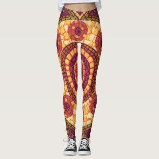 Rote orange gelbes Mosaik-abstrakte Leggings