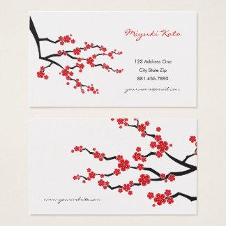 Rote orientalische Kirschblüten-Visitenkarten Visitenkarte