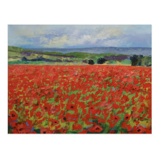 Rote orientalische Mohnblumen-Postkarte