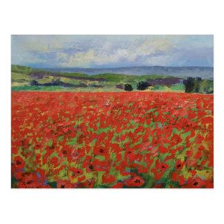 Rote orientalische Mohnblumen-Postkarte Postkarte