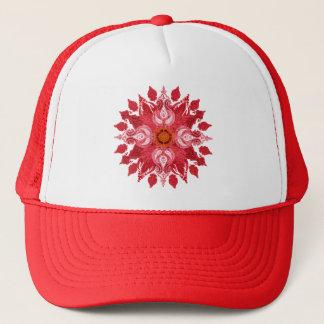 Rote Paisley-Sonne-Mandala Truckerkappe