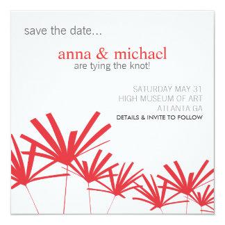 ROTE PALMEN Save the Date Karte Quadratische 13,3 Cm Einladungskarte