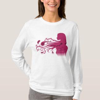 Rote Papier-geschnittene Dame im Wind T-Shirt
