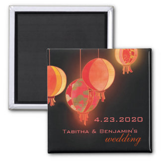 Rote Papierlaternen, die Save the Date Wedding Quadratischer Magnet