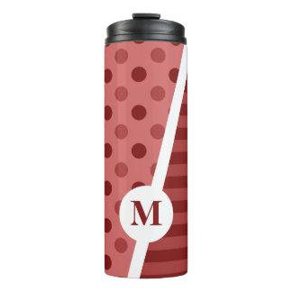Rote PastellTupfen und Streifen: Monogramm Thermosbecher