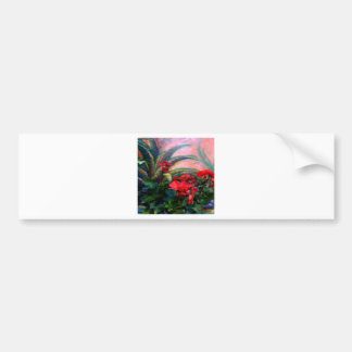 Rote Pelargonie-Garten-Stillleben-Malerei Autoaufkleber