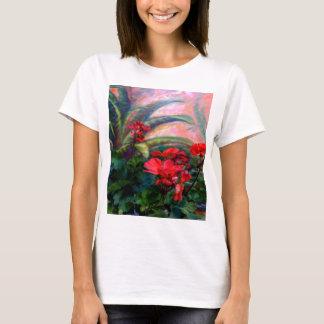 Rote Pelargonie-Garten-Stillleben-Malerei T-Shirt