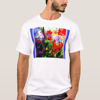 Rote Pelargonien u. Blau durch Sharles T-Shirt