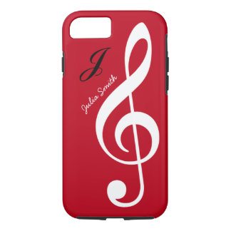 rote personalisierte dreifache gclef Musik iPhone 8/7 Hülle