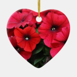 Rote Petunie-Blumen Keramik Herz-Ornament