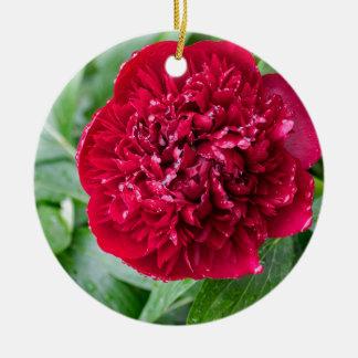 Rote Pfingstrosen-Blume Keramik Ornament