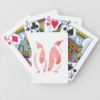 Rote Pinguin-Paare Bicycle Spielkarten