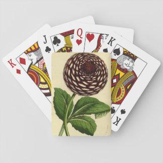 Rote playcards Blume der Vintagen Dahlie Spielkarten