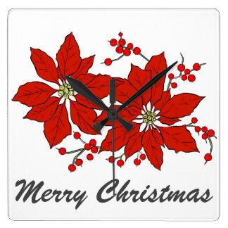 Rote Poinsettia-Blumen-frohe Weihnacht-Typografie Quadratische Wanduhr