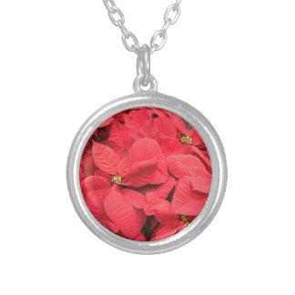 Rote Poinsettia Versilberte Kette