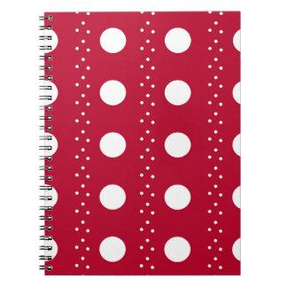 Rote Punkt-Streifen Spiral Notizblock