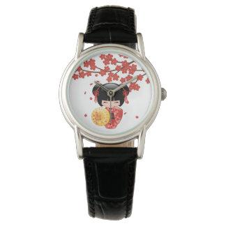 Rote Puppe Kirschblütes Kokeshi - japanisches Armbanduhr