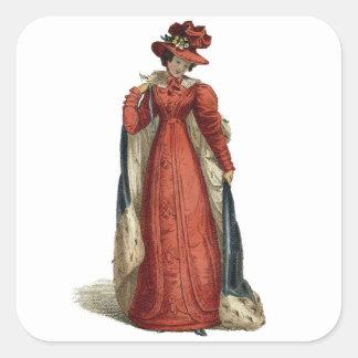 Rote Regentschafts-Dame Quadratischer Aufkleber